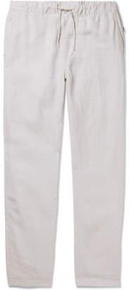 Onia Carter Wide-leg Drawstring Linen Trousers - Beige
