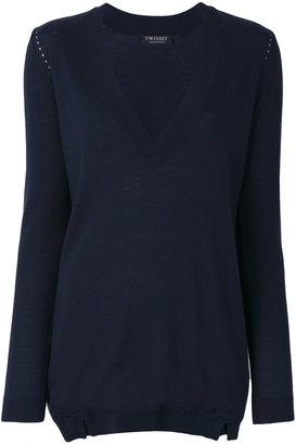 Twin-Set deep V-neck sweater $160.73 thestylecure.com