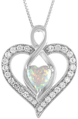 FINE JEWELRY Womens Lab Created Multi Color Opal Sterling Silver Heart Pendant Necklace