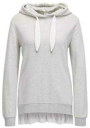 HUGO BOSS Hooded cotton-blend sweater with silk trim