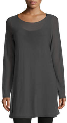 Eileen Fisher Long-Sleeve Seamless Knit Ballet-Neck Tunic