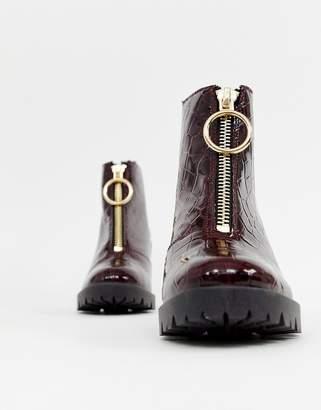 Asos DESIGN Rakel patent chunky heeled boots