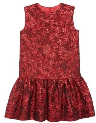 Oscar de la Renta Metallic Flower Jacquard Drop Waist Dress