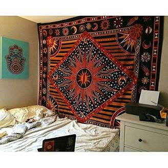 Popular Handicrafts Zodiac Mandala Tapestry Celestial Wall Decor Burning Sun Tapestries Indian College Dorm Hanging Bohemian Hippy Hippie Gypsy tapestry230x215cms by
