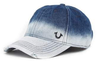 True Religion Bleached Denim Baseball Cap