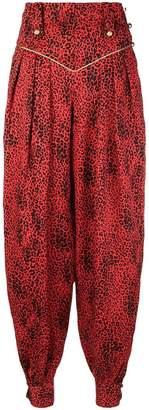 Alessandra Rich leopard print harem trousers