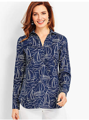 Talbots The Classic Casual Popover - Waves & Ships