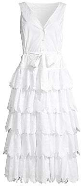 Rebecca Taylor Women's Embroidered Tiered Cotton Midi Dress