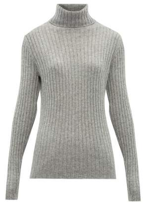 Allude Roll Neck Ribbed Knit Cashmere Sweater - Womens - Dark Grey