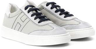 Hogan stitched lace up sneakers