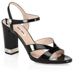 Miu Miu Crystal-Embellished Leather Slingback Sandals