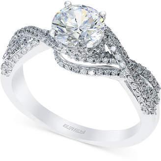 Effy Bridal by Diamond Crisscross Engagement Ring (1-3/8 ct. t.w.) in 14k White Gold
