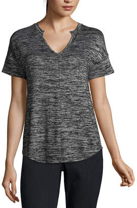 A.N.A Short Sleeve Split Crew Neck T-Shirt-Womens
