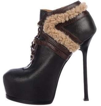 Saint Laurent Leather Platform Ankle Boots Black Leather Platform Ankle Boots