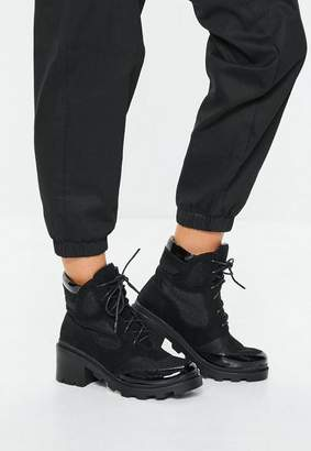 Missguided Black Contrast Panel Lace Up Boots