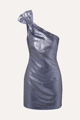 Rachel Zoe Sarrica One-shoulder Lame Mini Dress - Navy