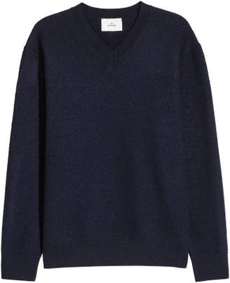 H&M V-neck Boiled Wool Sweater - Blue