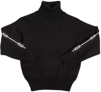 MSGM Logo Bands Knit Turtleneck Sweater