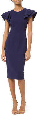 Michael Kors Crepe Flutter-Sleeve Sheath Dress