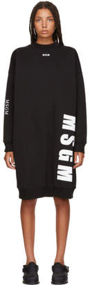 MSGM Black Times New Roman Sweatshirt Dress