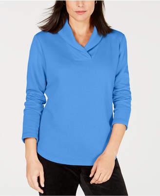 Karen Scott Petite Shawl-Collar Sweatshirt, Created for Macy's
