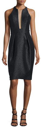 Carmen Marc Valvo Sleeveless Shimmery Deep-Illusion Cocktail Dress $595 thestylecure.com