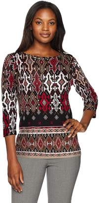 Ruby Rd. Women's 3/4 Sleeve Printed Cotton Knit Top