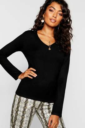 boohoo V Neck Knitted Top