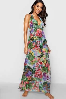 boohoo Tropical Maxi Beach Dress