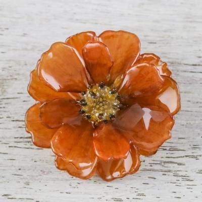 Blooming Cosmos in Dark Orange Natural Cosmos Flower Brooch in Dark Orange from Thailand