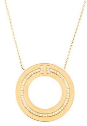 Tiffany & Co. & Co. 18K Diamond T Two Circle Pendant Necklace