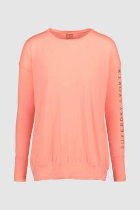 Next Womens Superdry Pink Long Sleeved Sports Tee