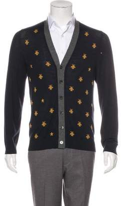 Gucci 2017 Wool Bee Intarsia Cardigan