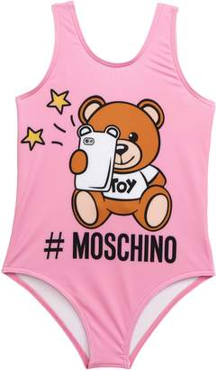 Moschino Bear Logo Graphic One-Piece Swimsuit