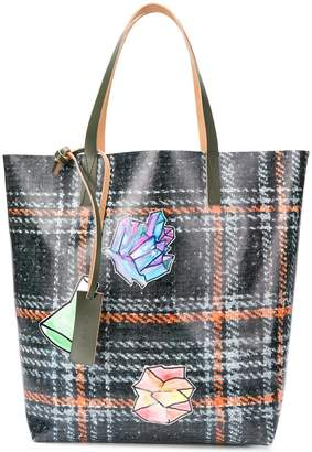 Marni plaid print shopper tote