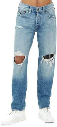 True Religion Men's Geno Flap-Pocket Distressed Slim-Straight Jeans