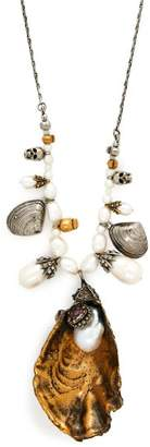 Alexander McQueen Oyster Baroque Pearl Necklace - Womens - Gold