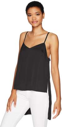 Kensie Women's Shiny Polyester Spaghetti Strap Top with High Low Hem