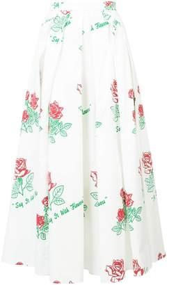 Rosie Assoulin rose print full skirt