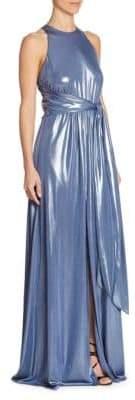 Halston Metallic Sleeveless Gown