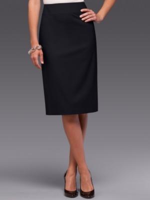 Seasonless wool yoke-waist slim skirt