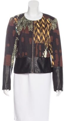 Trina Turk Leather-Trimmed Zip-Front Jacket $125 thestylecure.com