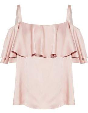 Temperley London Cold-Shoulder Ruffled Silk-Satin Top