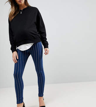 Asos RIVINGTON High Waist Denim Jeggings in Indigo with White Stripes with Under the Bump Waistband