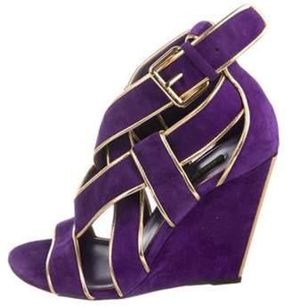 Louis Vuitton Suede Wedge Sandals Purple Suede Wedge Sandals