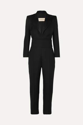 Alexandre Vauthier Satin-trimmed Grain De Poudre Wool Jumpsuit - Black