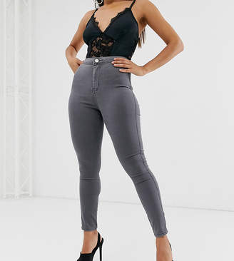 Asos DESIGN Petite rivington high waisted jeggings in smokey grey wash