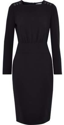 Max Mara Button-Detailed Wool-Blend Crepe Dress
