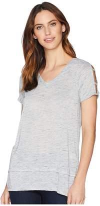 Mod-o-doc Soft Light Heather Jersey Cut Out Cold Shoulder Sleeve V-Neck Tee Women's T Shirt
