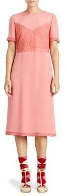 Burberry Chantilly Silk Lace Crepe Marocain Dress